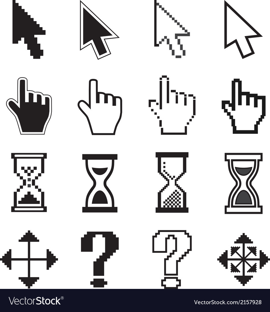 Pixel cursors icons arrow hourglass hand mouse vector | Price: 1 Credit (USD $1)