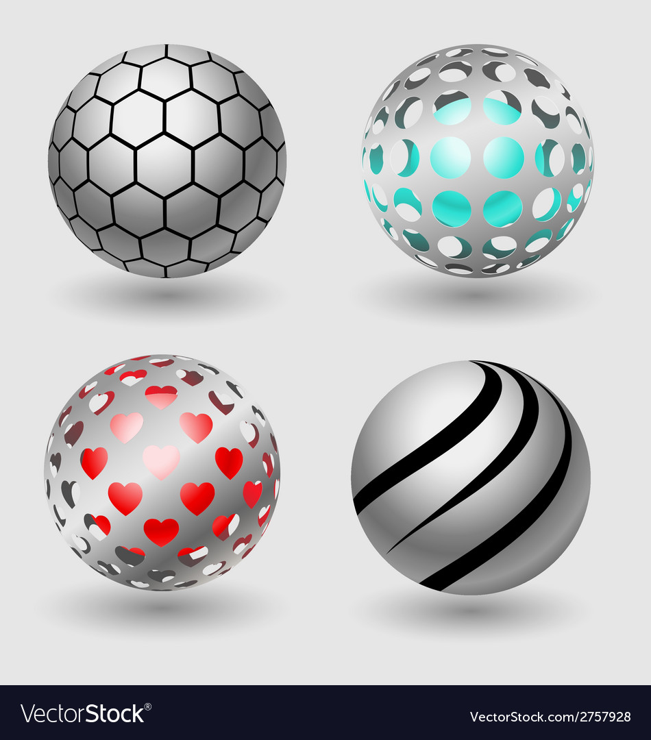 Silver ball business icon collection vector | Price: 1 Credit (USD $1)