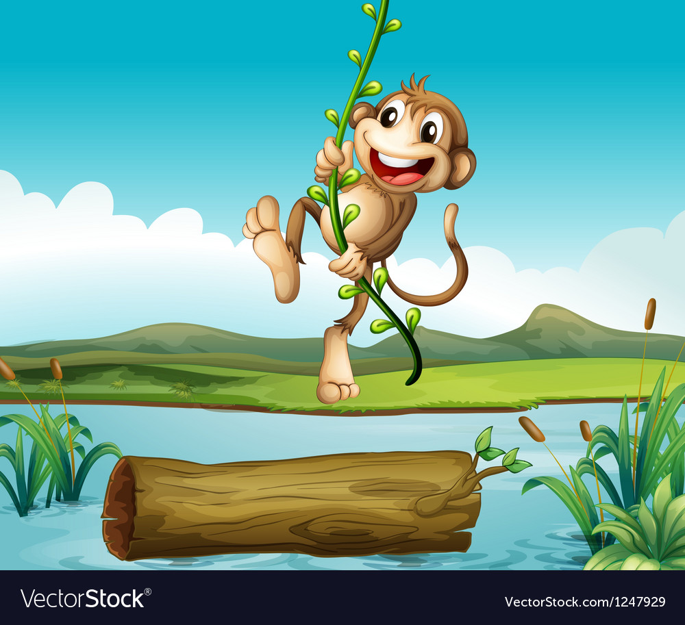 A monkey swinging vector | Price: 1 Credit (USD $1)