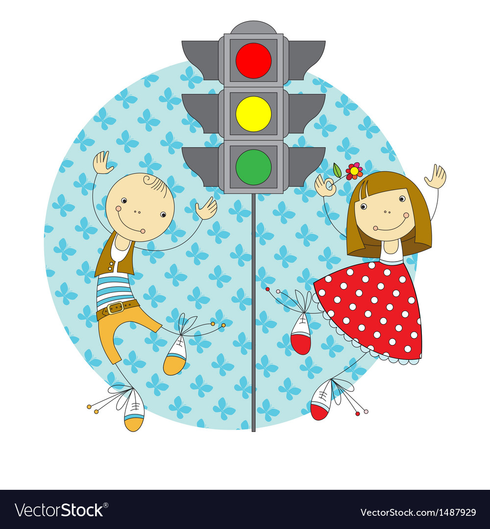 Children and traffic lights vector | Price: 3 Credit (USD $3)