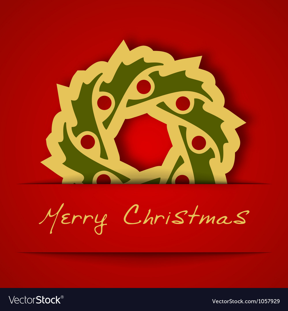 Christmas gold garland applique on red background vector | Price: 1 Credit (USD $1)