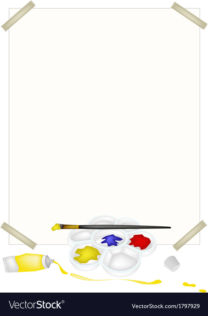 Color paint in palette with brushes and paper vector | Price: 1 Credit (USD $1)