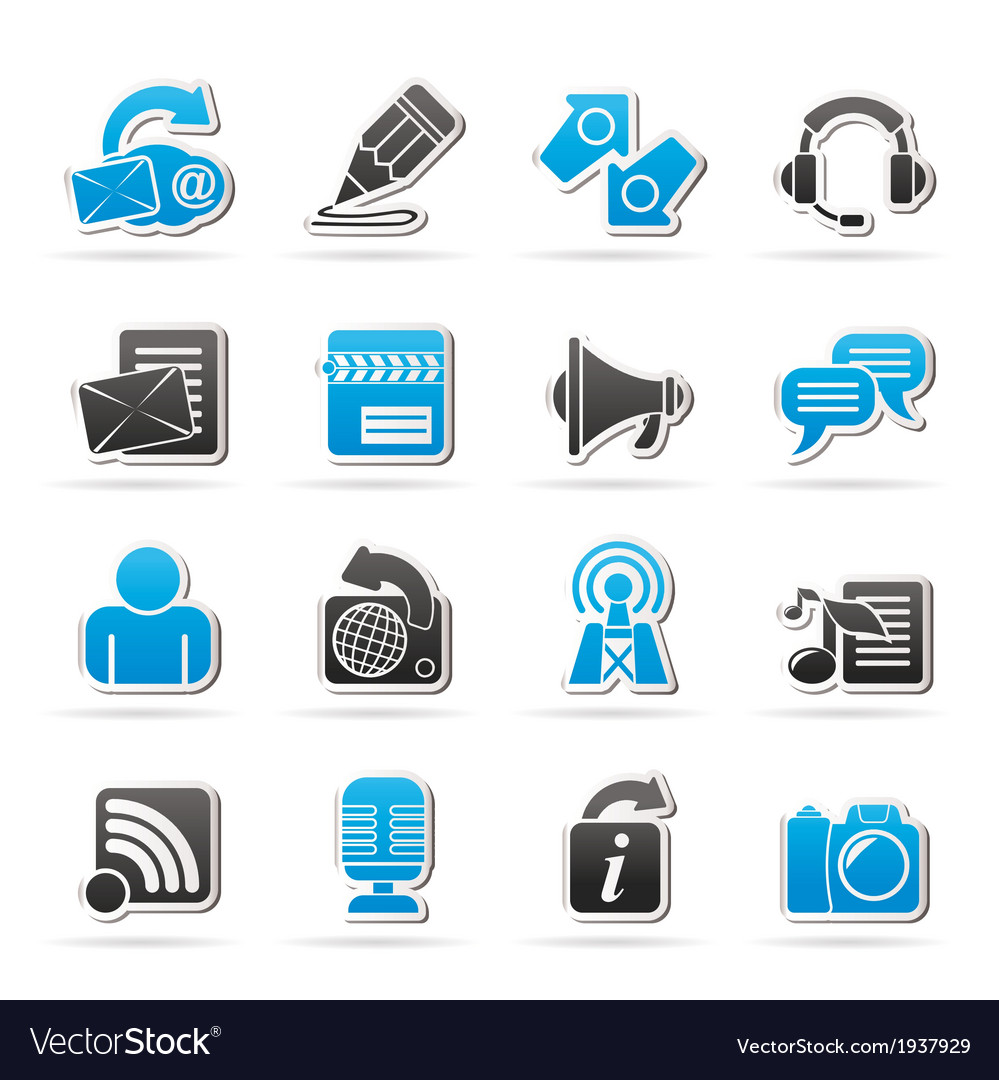 Communication and social network icons vector | Price: 1 Credit (USD $1)