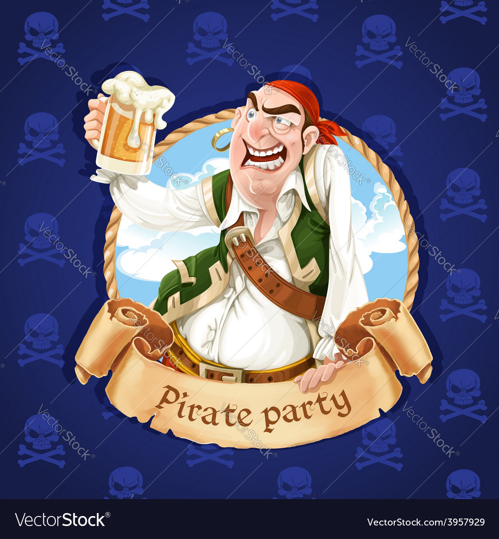Drunken pirate with a beer banner for pirate vector | Price: 3 Credit (USD $3)