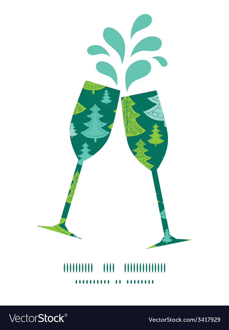 Holiday christmas trees toasting wine glasses vector   Price: 1 Credit (USD $1)