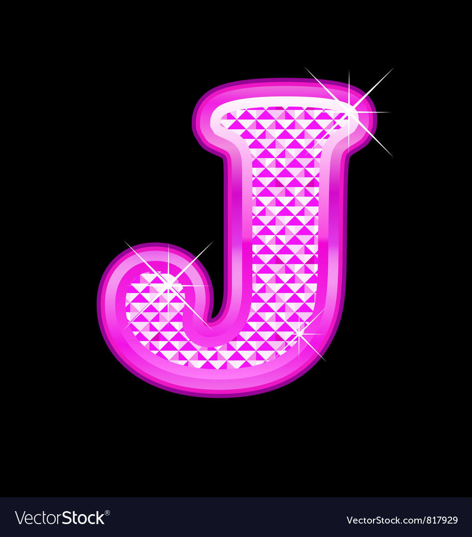 J letter pink bling girly vector | Price: 1 Credit (USD $1)