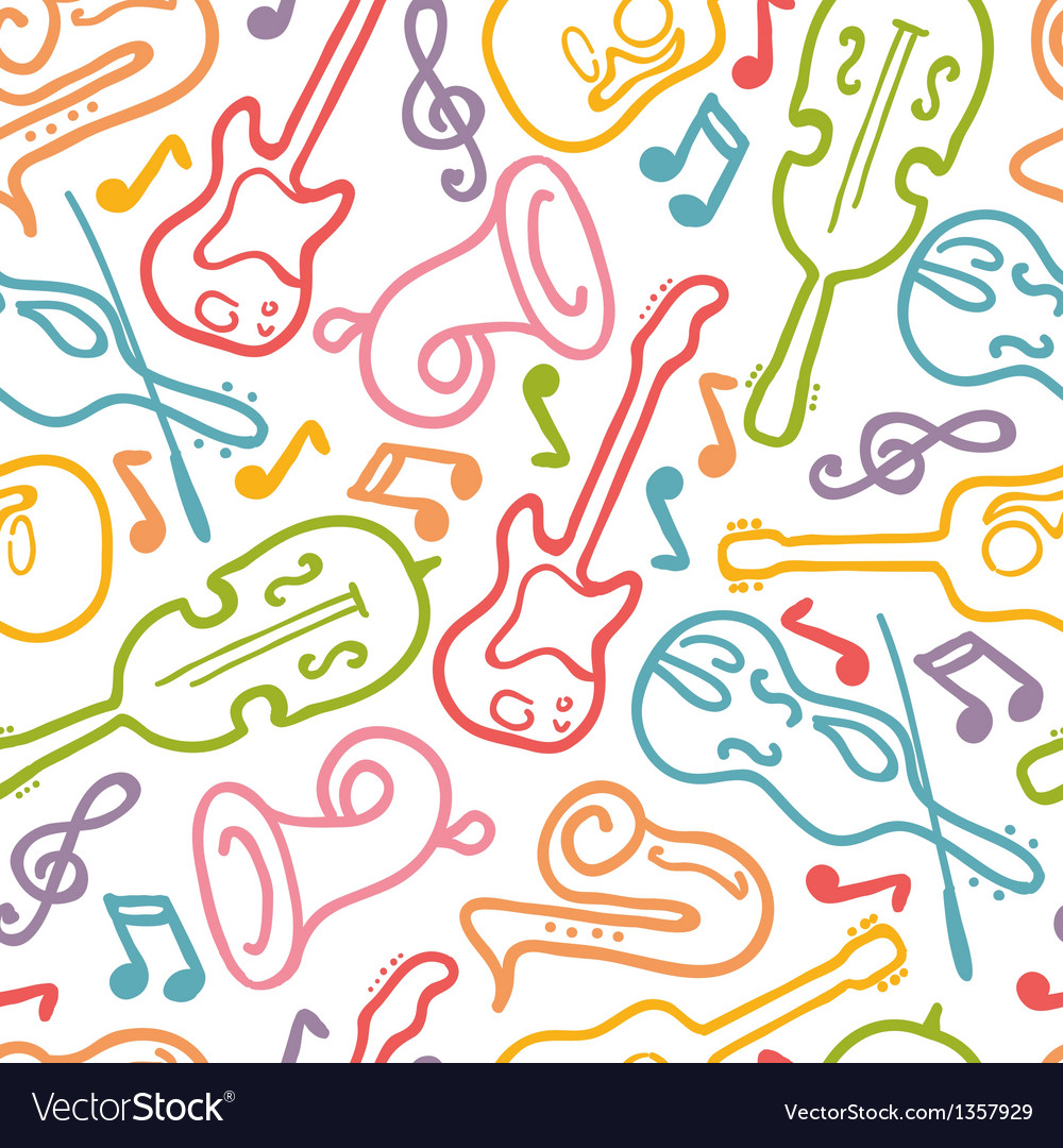 Musical instruments seamless pattern background vector | Price: 1 Credit (USD $1)