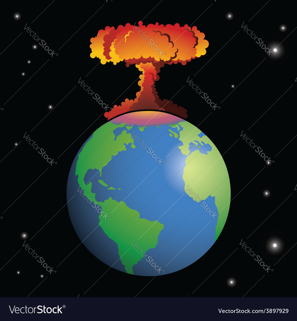 Nuclear weapon exploding on earth vector | Price: 1 Credit (USD $1)