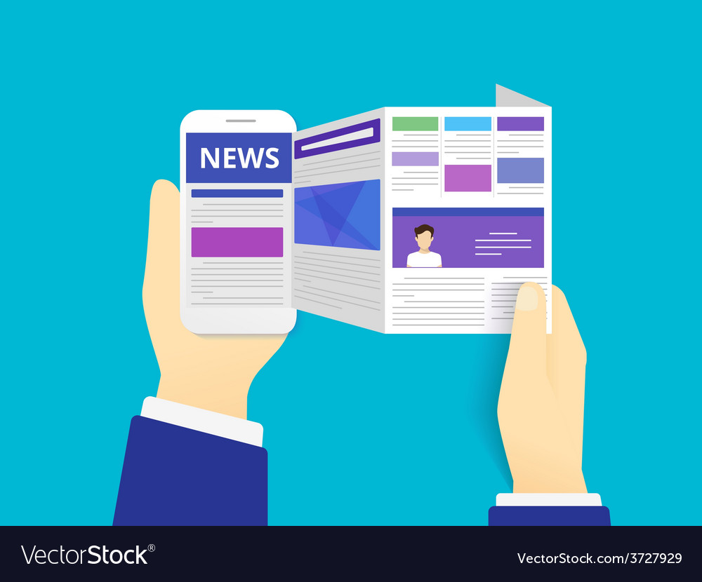 Online reading news vector | Price: 1 Credit (USD $1)