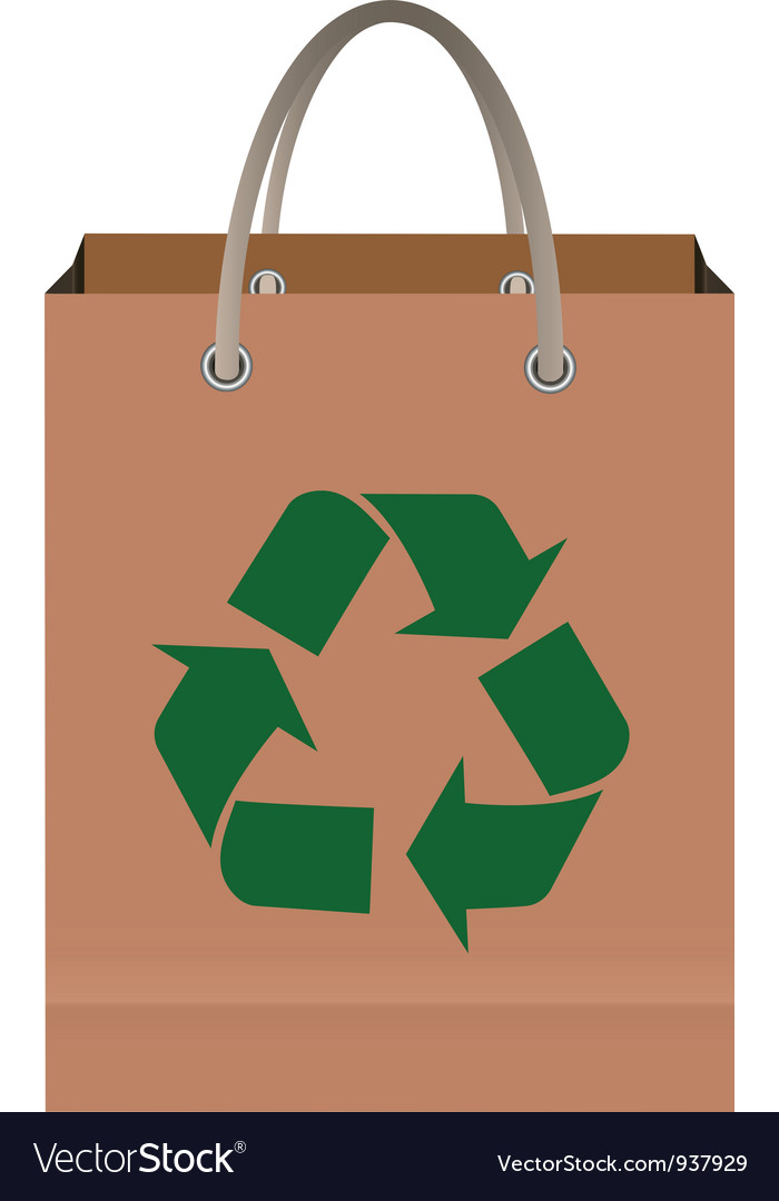 Paper bag with recycle symbol vector | Price: 1 Credit (USD $1)