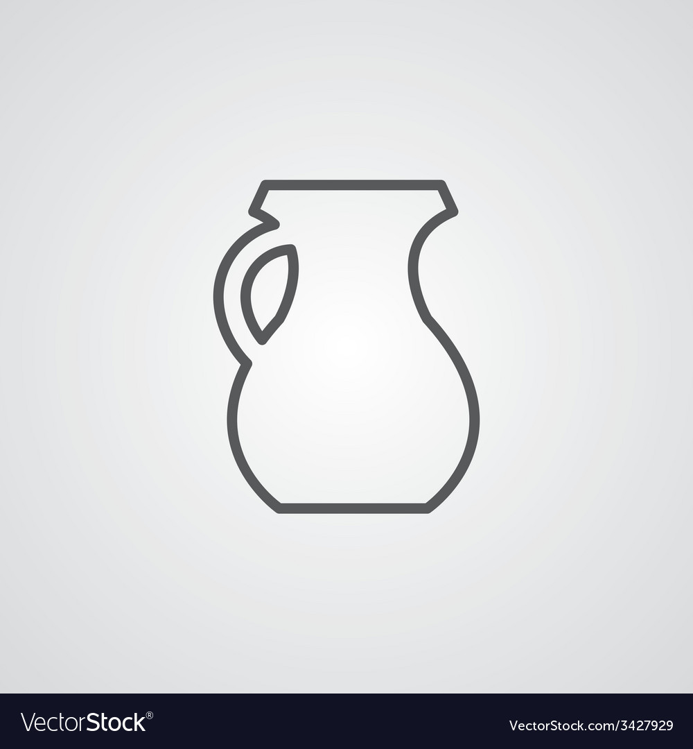 Pitcher outline symbol dark on white background vector | Price: 1 Credit (USD $1)