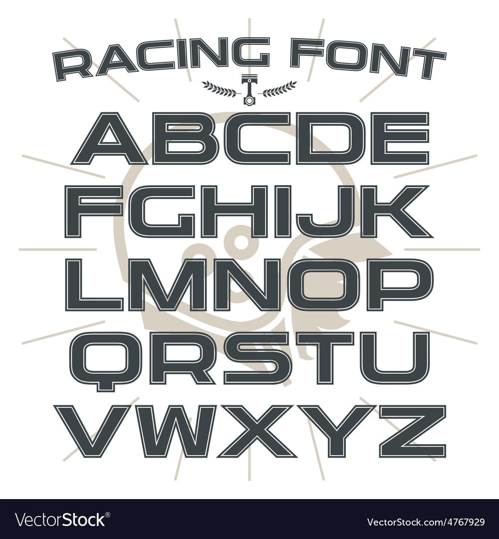 Sans serif font in retro racing style vector | Price: 1 Credit (USD $1)