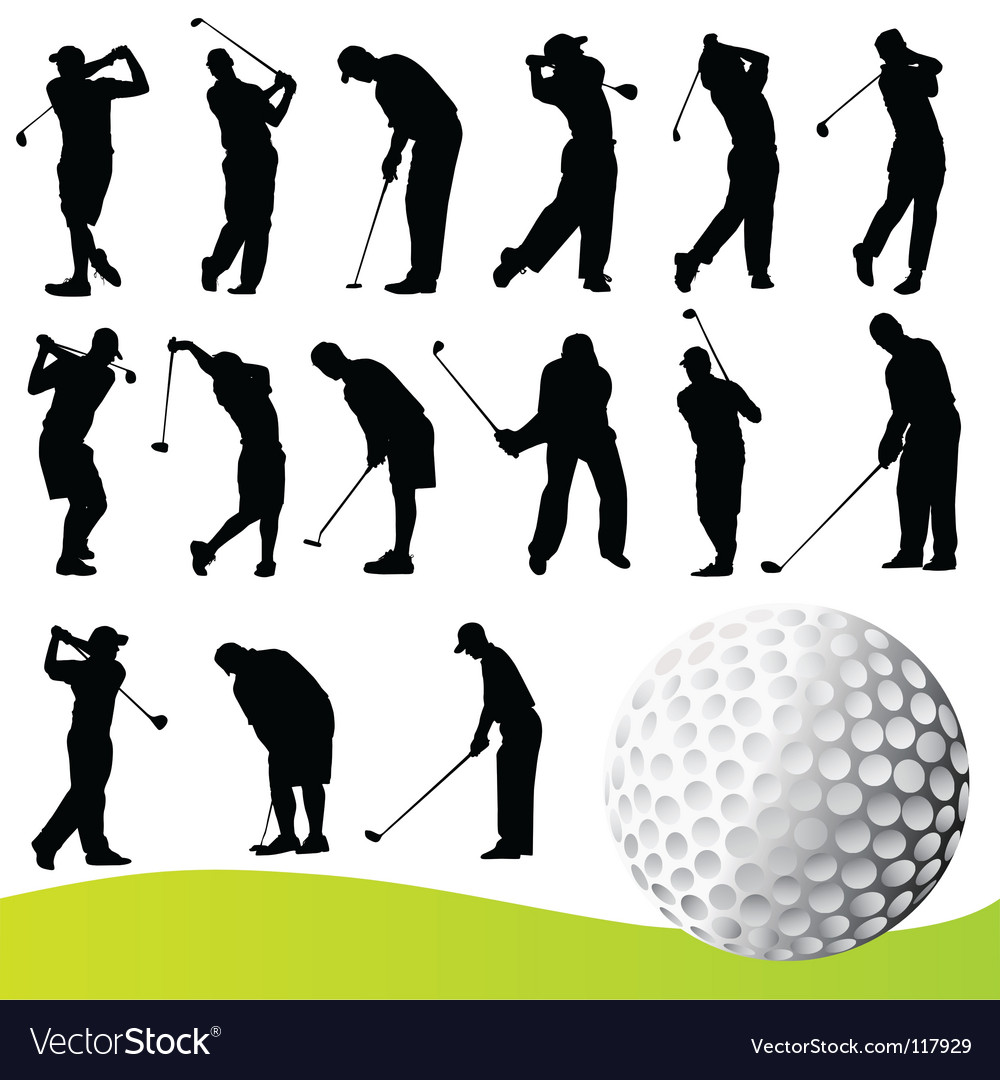 Set of golf player vector