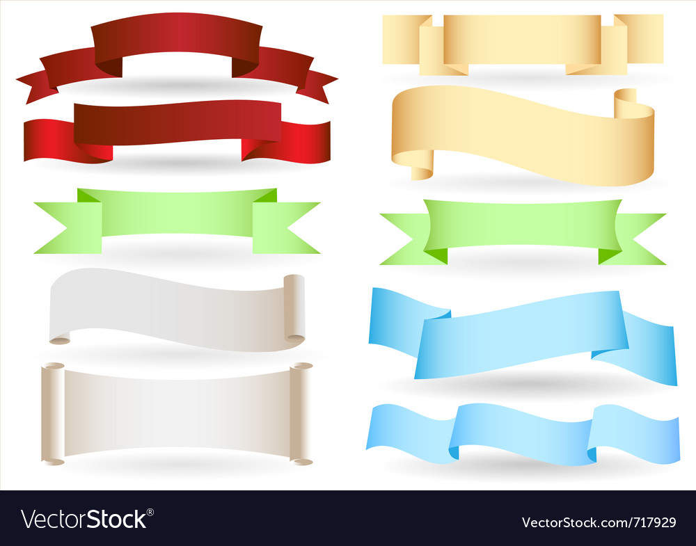 Set of origami ribbons and banners text box vector | Price: 1 Credit (USD $1)