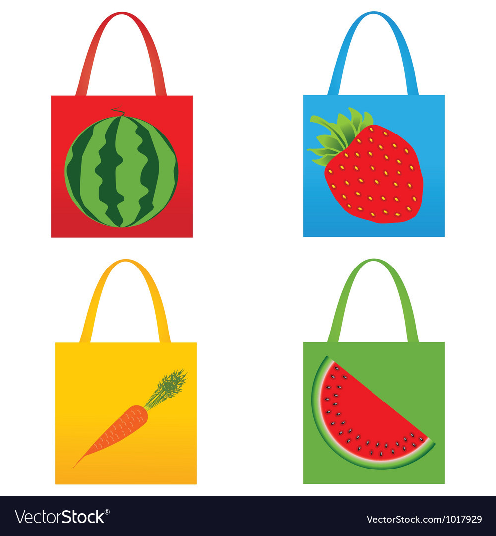 Set of shopping fruit bags vector | Price: 1 Credit (USD $1)