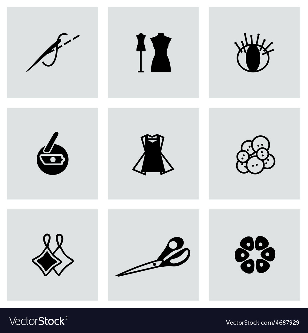 Sewing icon set vector | Price: 1 Credit (USD $1)