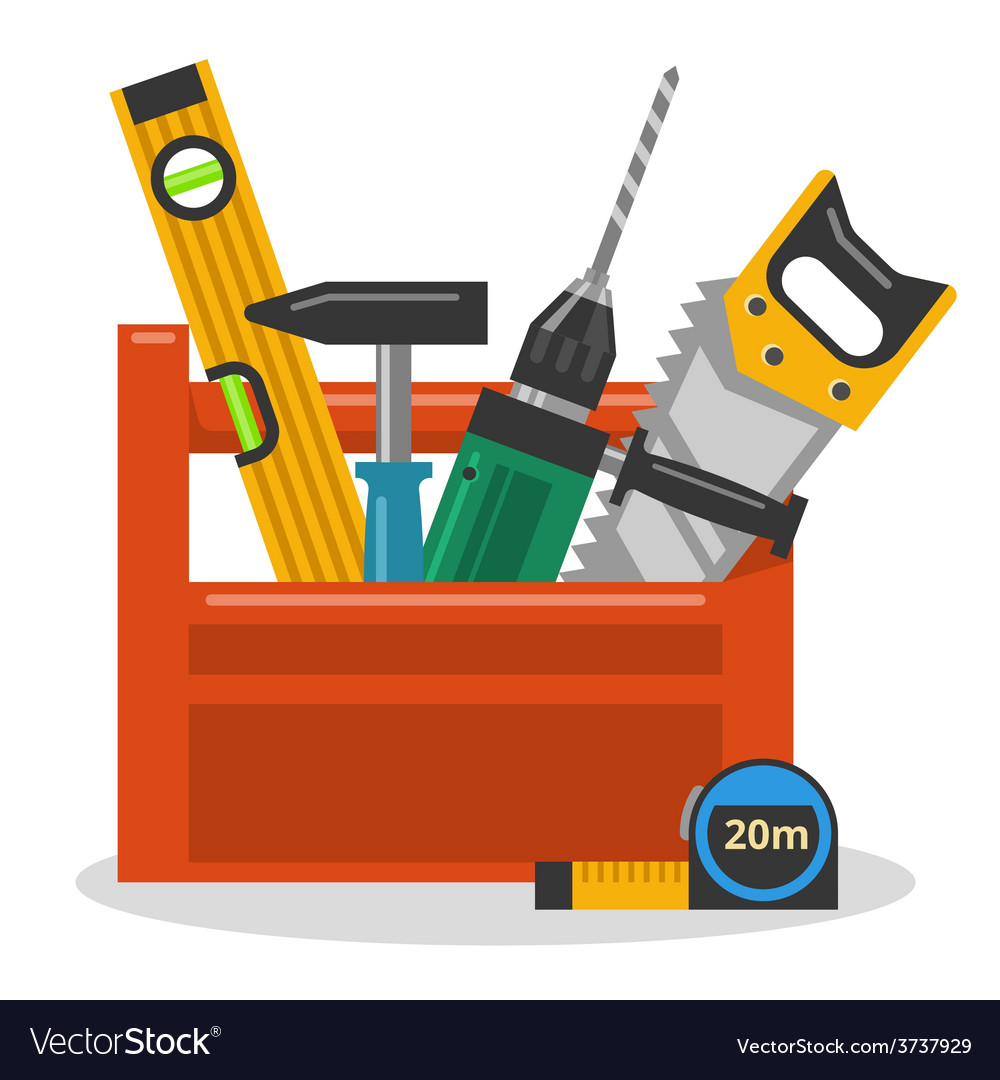 Tools in toolbox vector | Price: 1 Credit (USD $1)