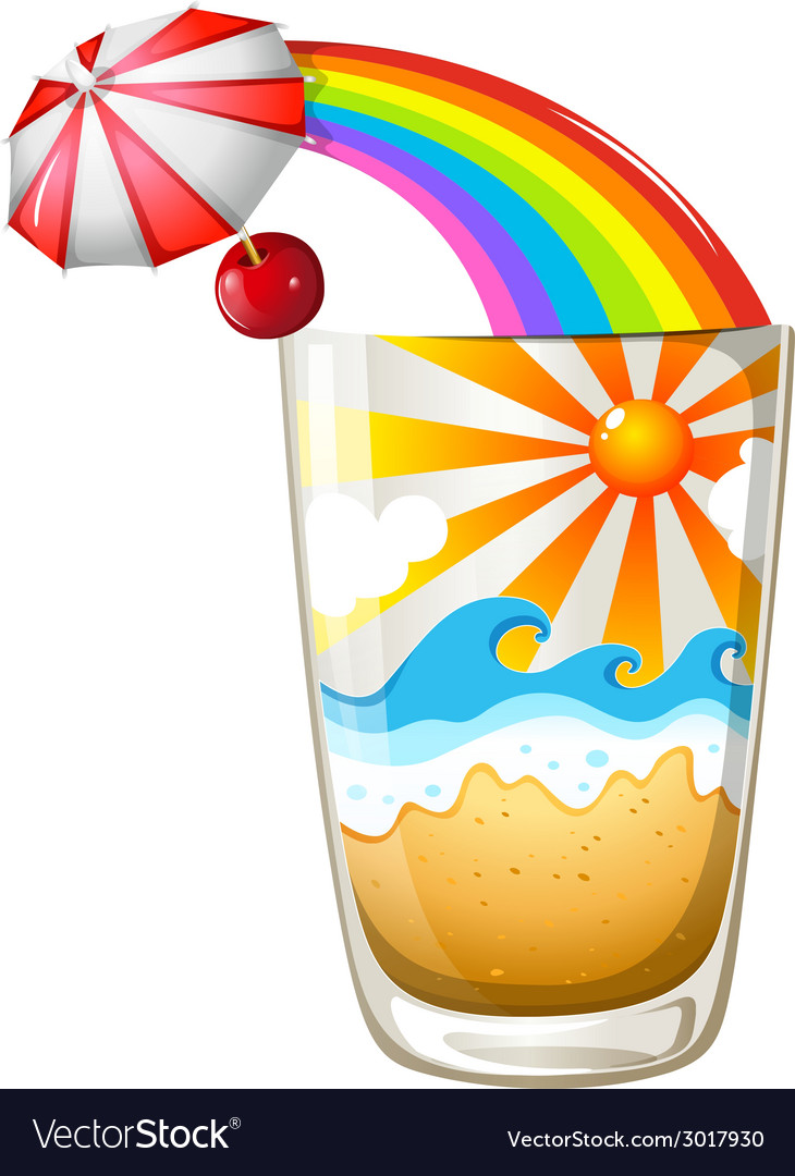A glass with a summer template vector | Price: 1 Credit (USD $1)