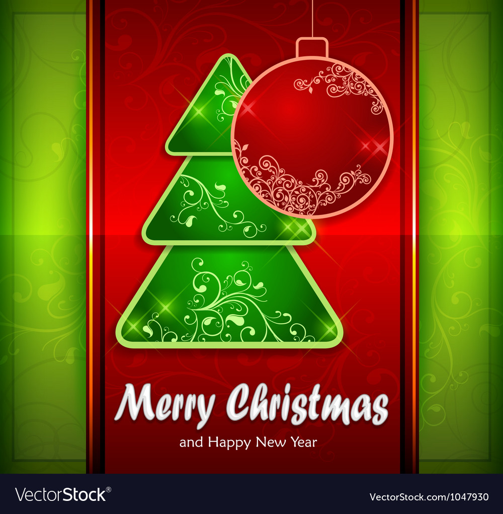 Balls and fir trees on red and green color vector | Price: 1 Credit (USD $1)