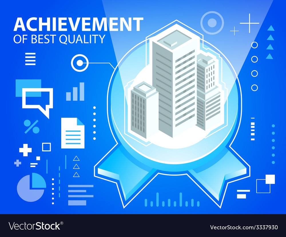 Bright emblem and buildings on blue backgrou vector | Price: 3 Credit (USD $3)