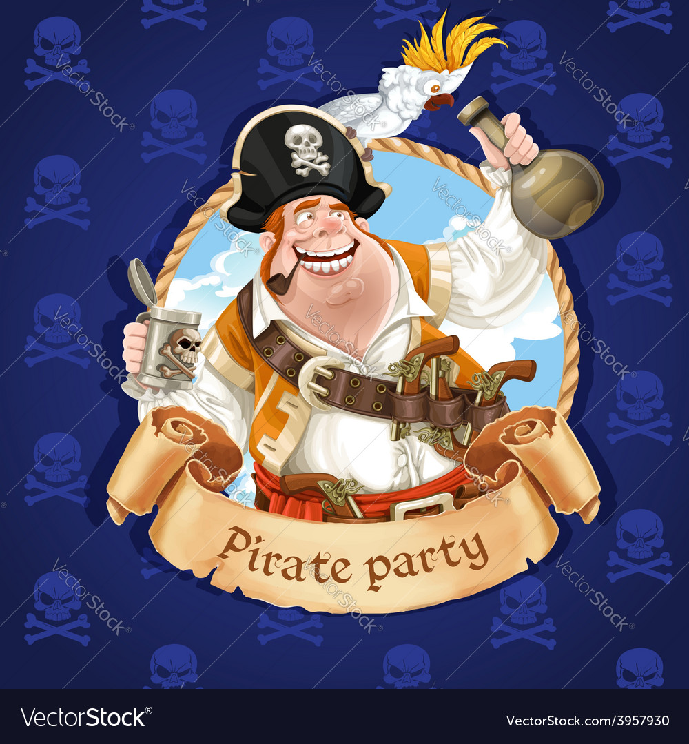 Drunken pirate with parrot sitting on a hat vector | Price: 3 Credit (USD $3)