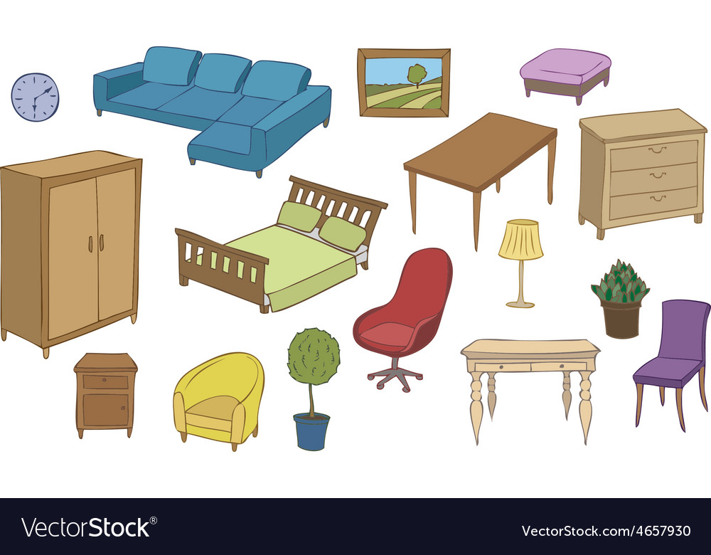 Furniture and decoration color set vector | Price: 1 Credit (USD $1)