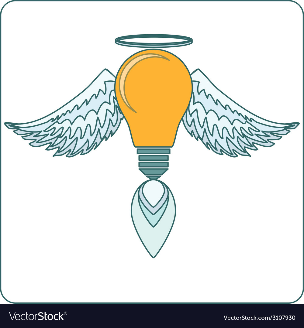 Glowing light bulb with angel wings halo and a vector | Price: 1 Credit (USD $1)