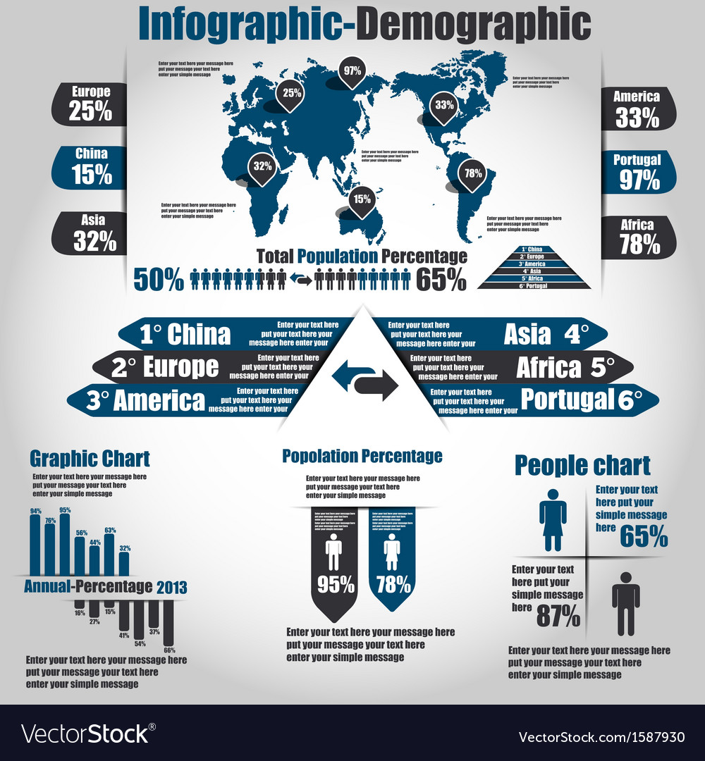 Infographic demographic new style 10 vector | Price: 1 Credit (USD $1)