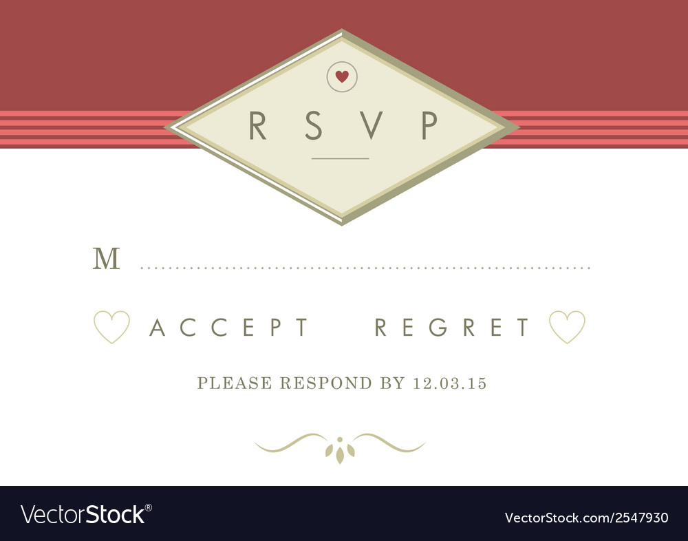 Rsvp wedding card red and gold ribbon theme vector | Price: 1 Credit (USD $1)