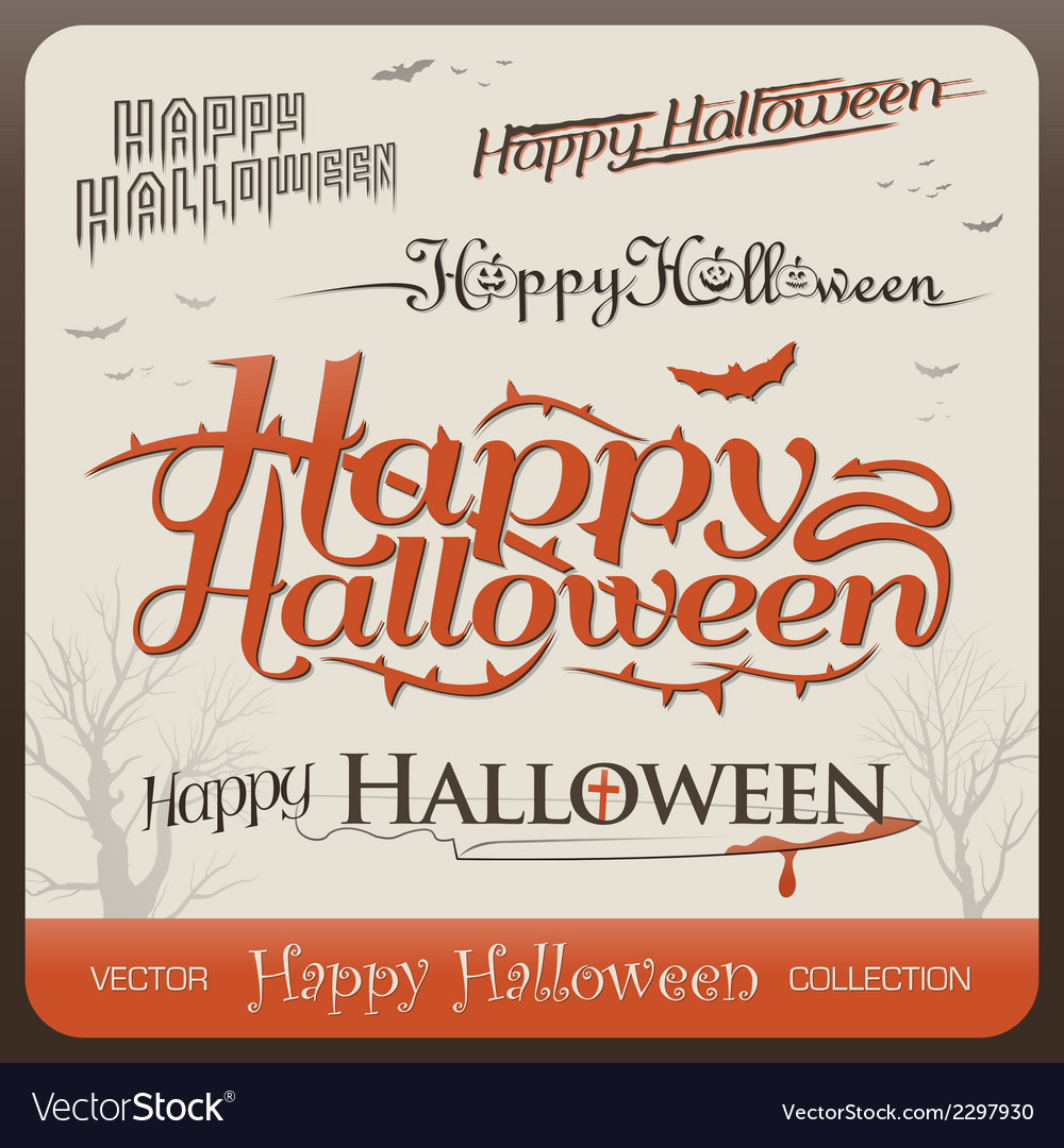 Set of happy halloween greetings typography vector | Price: 1 Credit (USD $1)