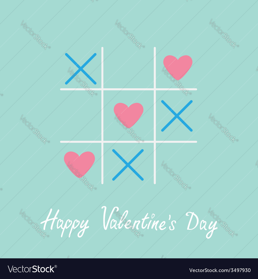 Tic tac toe game with cross and three heart sign vector | Price: 1 Credit (USD $1)