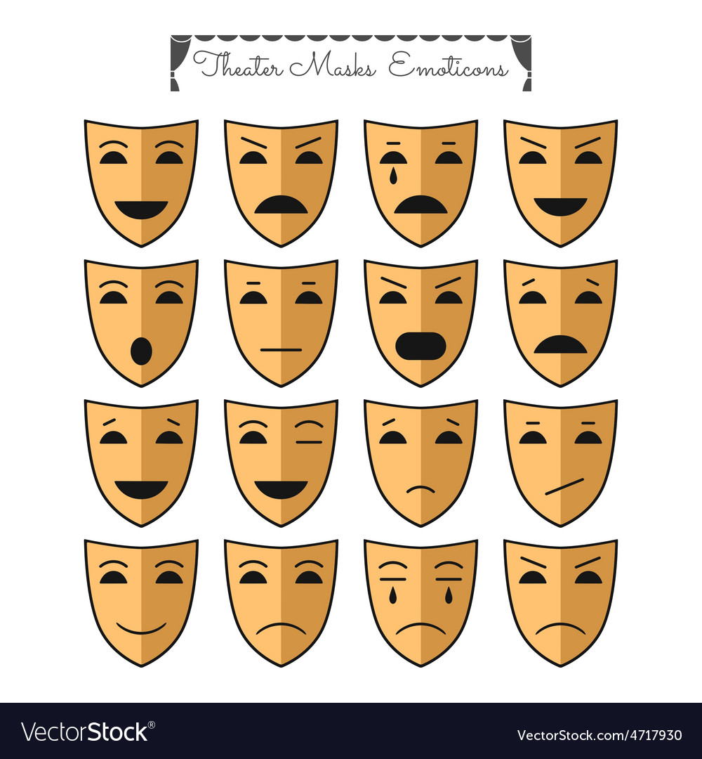 Theatrical masks emoticons vector | Price: 1 Credit (USD $1)
