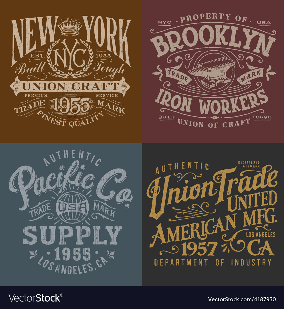 Vintage workwear graphics set vector | Price: 3 Credit (USD $3)