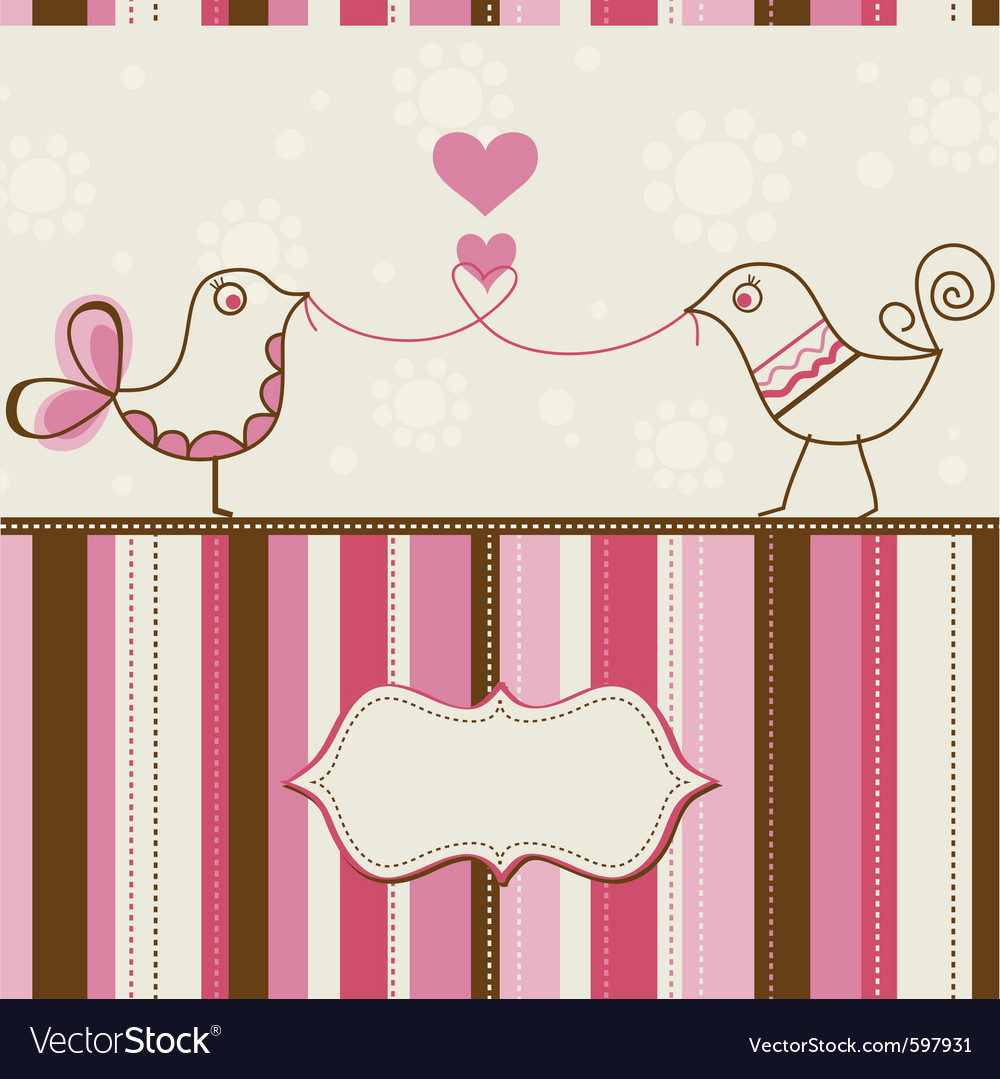 Birds love greeting card vector | Price: 1 Credit (USD $1)