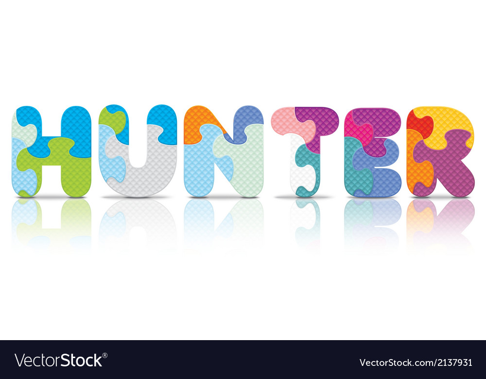 Hunter written with alphabet puzzle vector   Price: 1 Credit (USD $1)