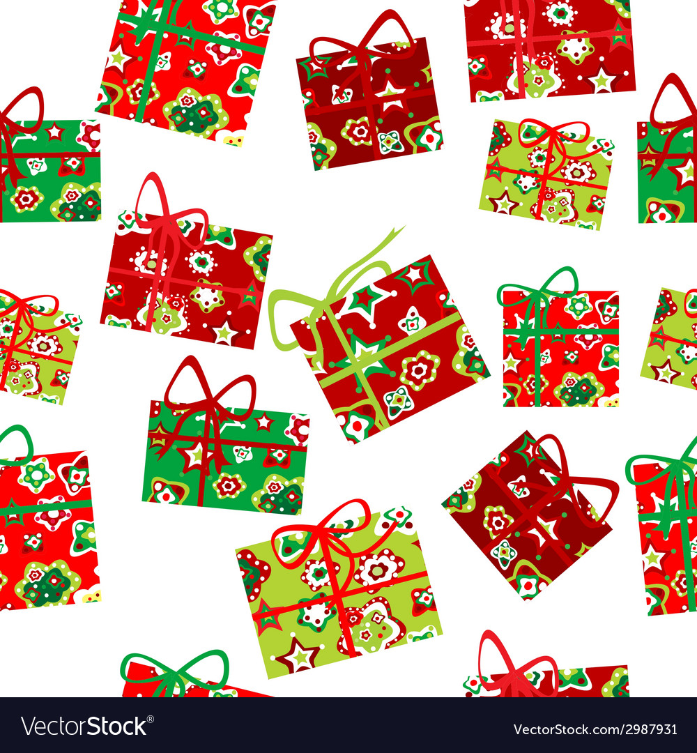 Seamless background with christmas gift boxes vector | Price: 1 Credit (USD $1)