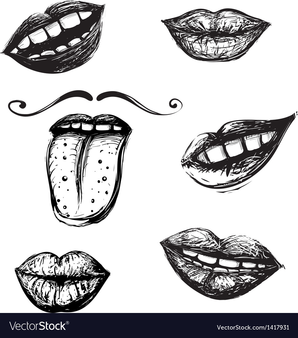 Smile and mouth drawing collection vector | Price: 1 Credit (USD $1)