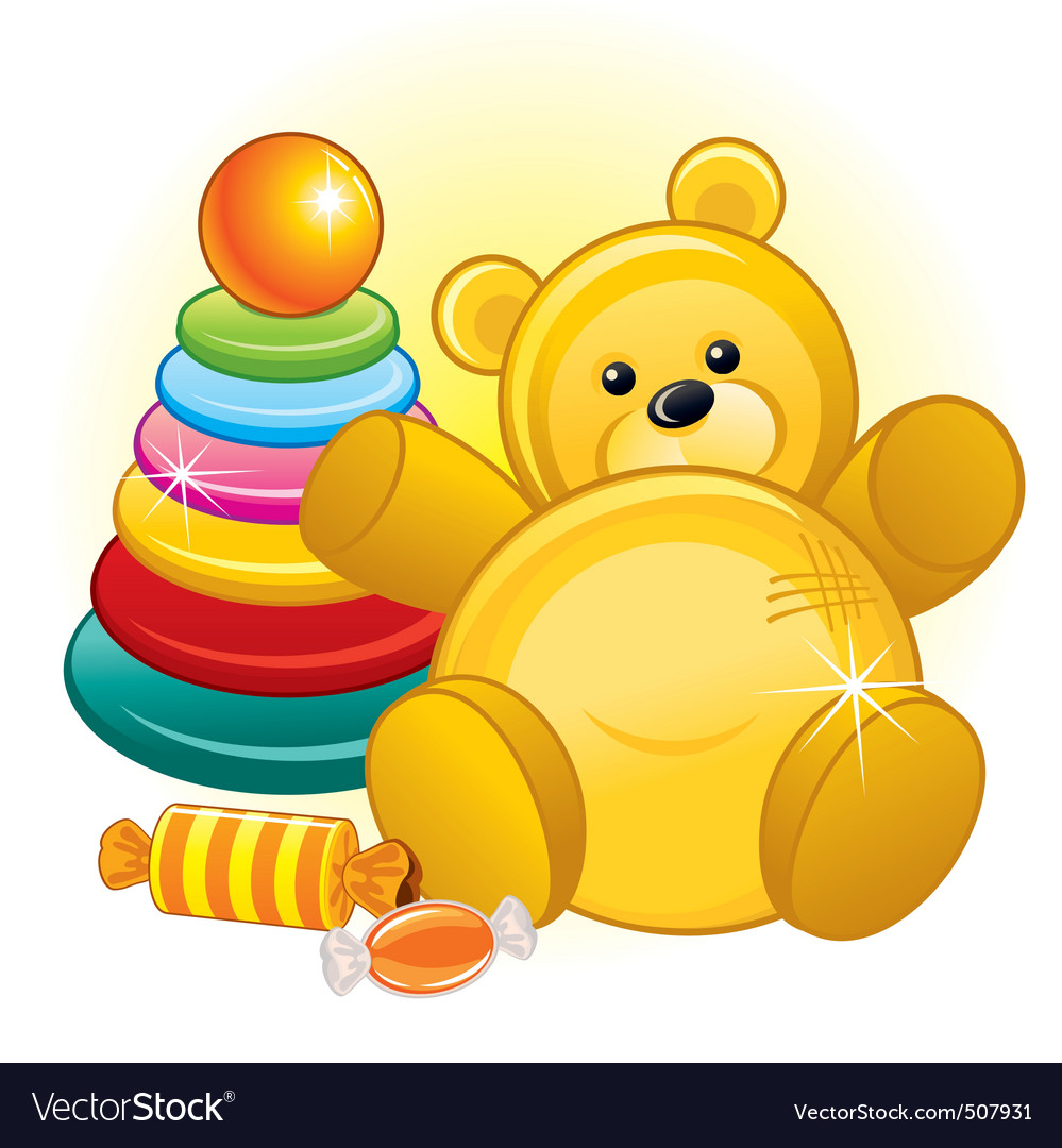 Toys and teddy bear vector | Price: 1 Credit (USD $1)