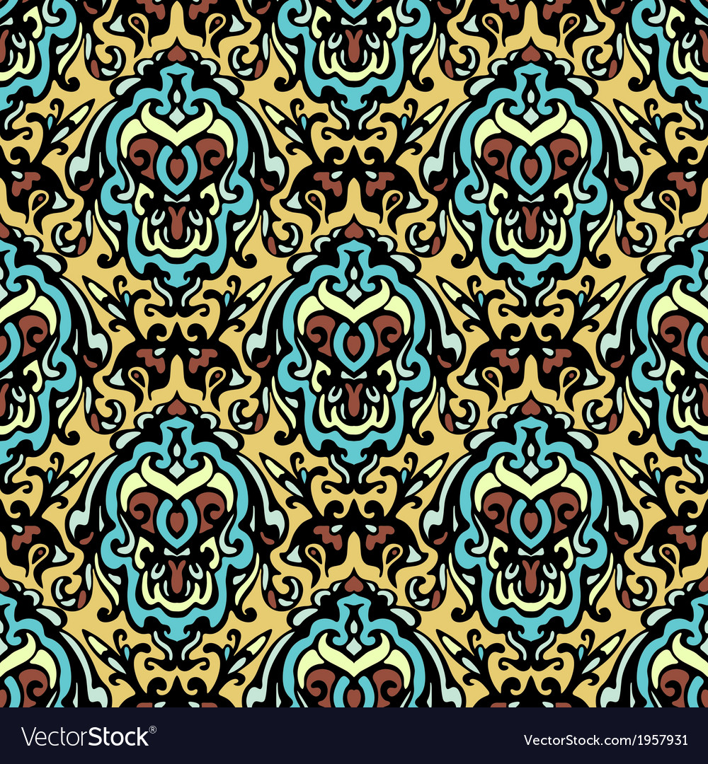 Vintage ethnic damask seamless pattern background vector | Price: 1 Credit (USD $1)