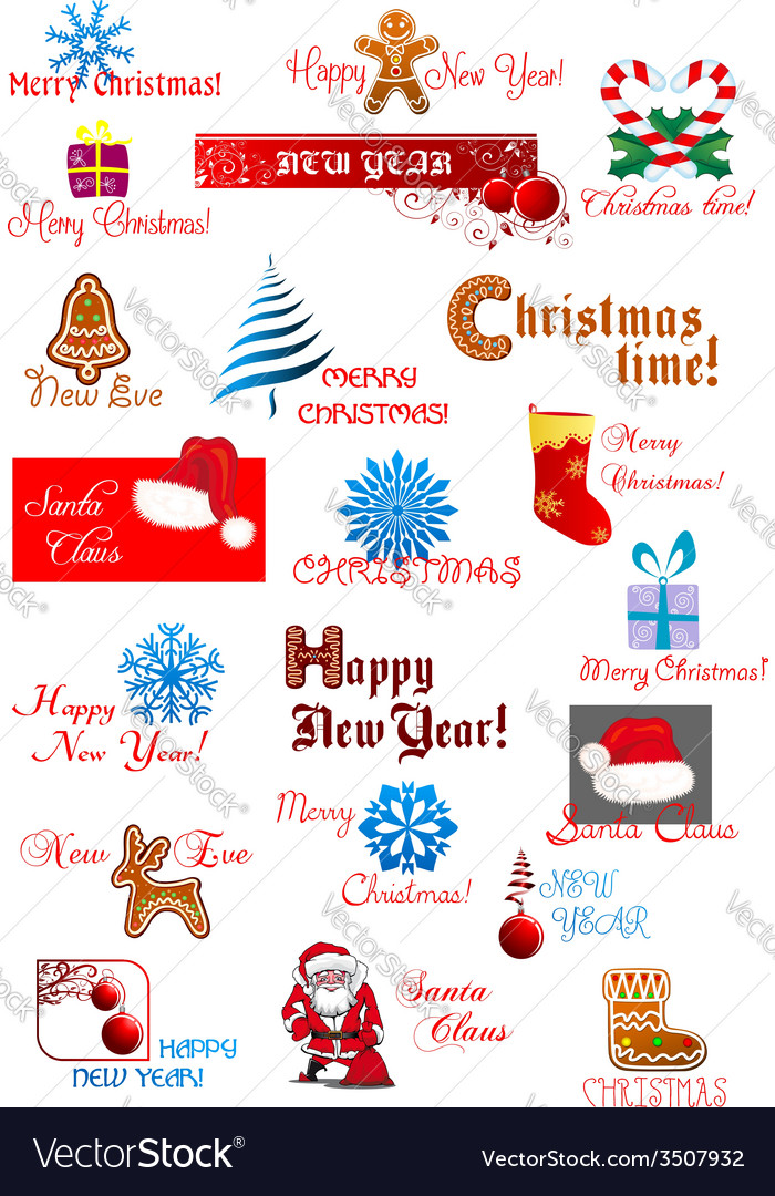 Christmas and new year symbols set vector   Price: 1 Credit (USD $1)