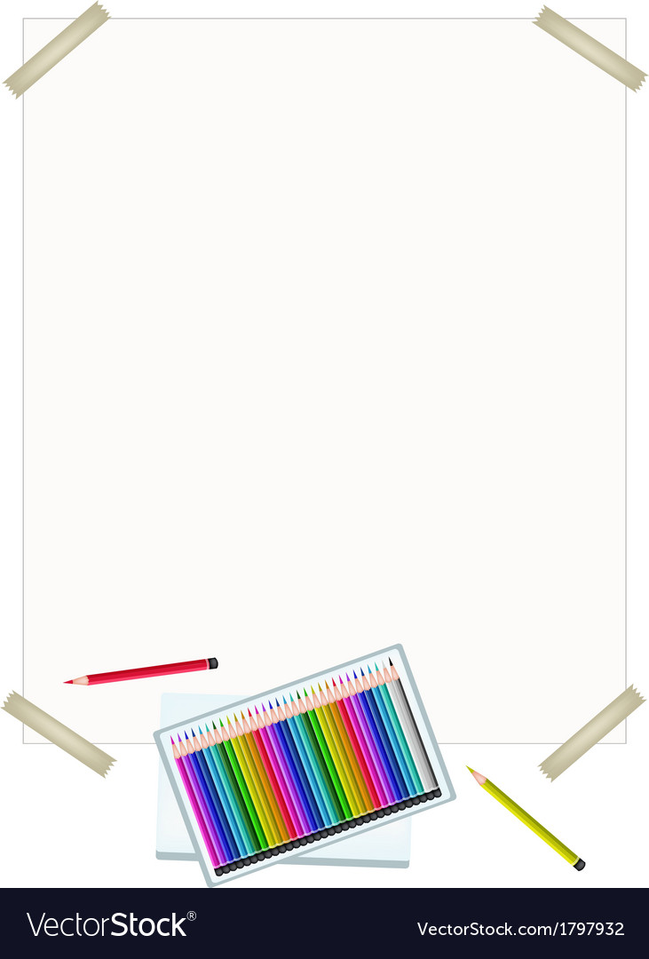 Colored pencils in a box on white paper vector | Price: 1 Credit (USD $1)