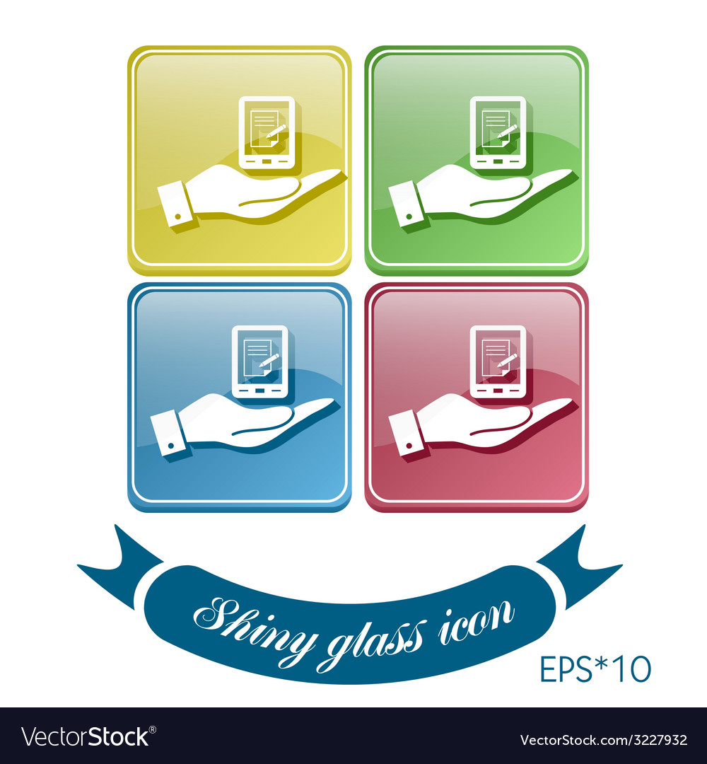 Hand holding a tablet pad with sheet of paper vector   Price: 1 Credit (USD $1)