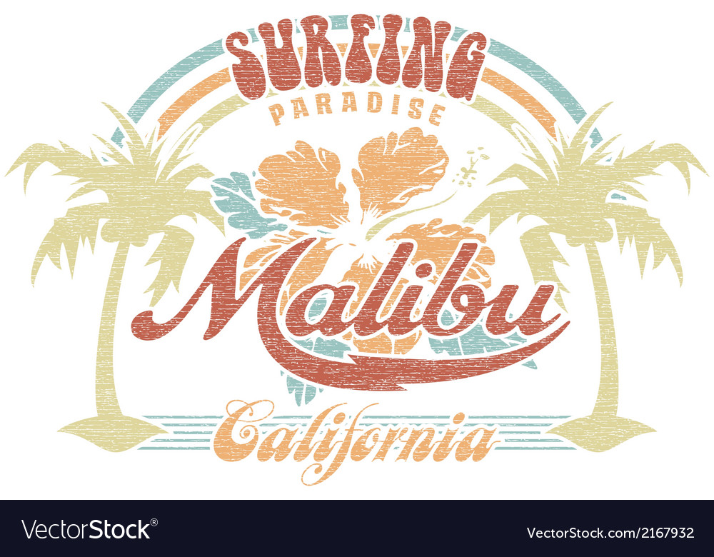 Malibu surfing paradise vector | Price: 1 Credit (USD $1)
