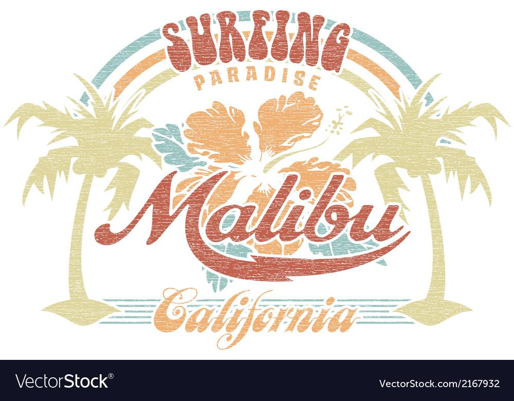 Malibu surfing paradise vector