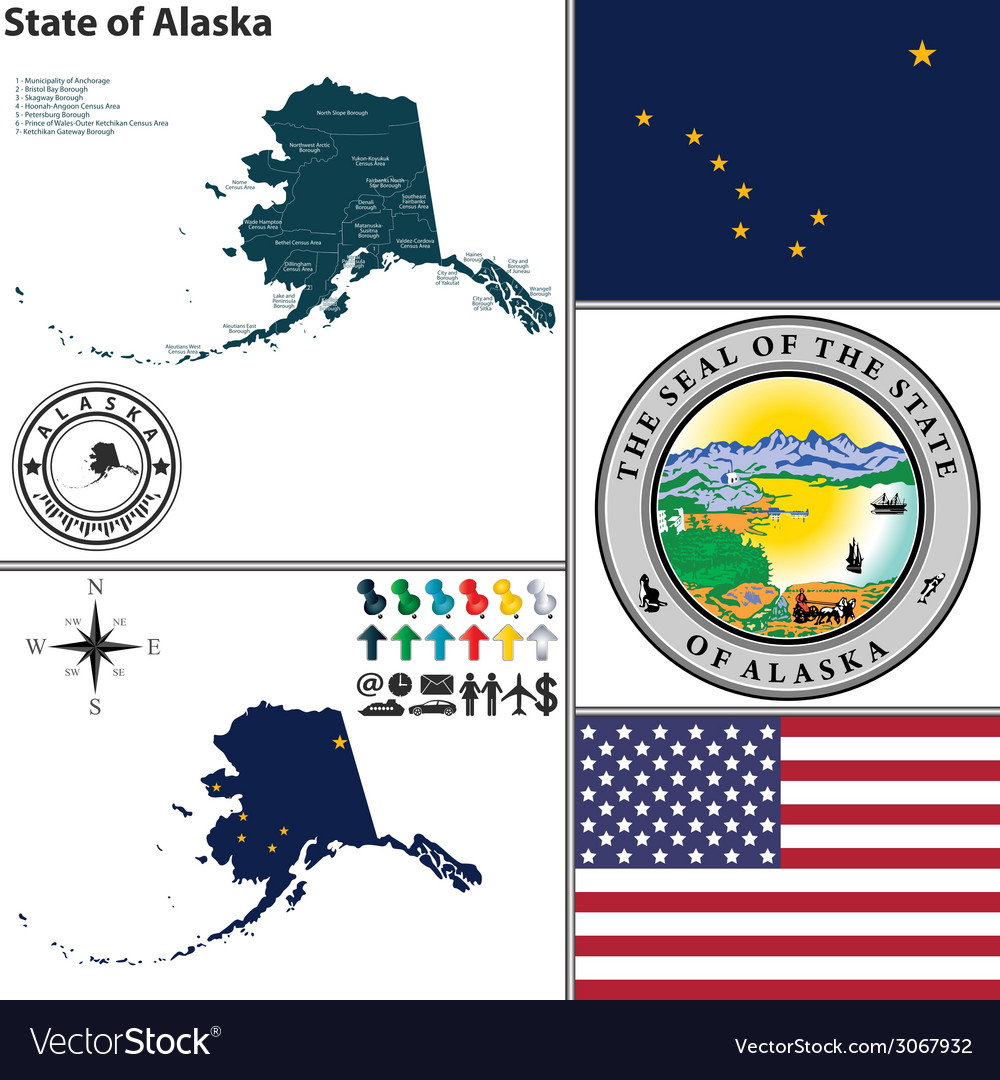 Map of alaska with seal vector | Price: 1 Credit (USD $1)