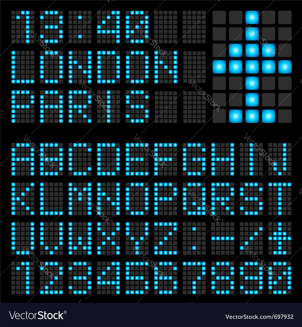 Set blue letters on a mechanical timetable vector   Price: 1 Credit (USD $1)