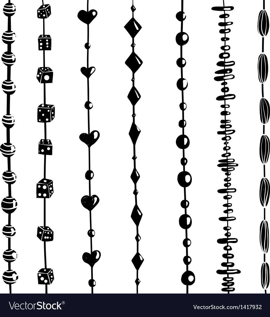 String of beads set black and white vector | Price: 1 Credit (USD $1)
