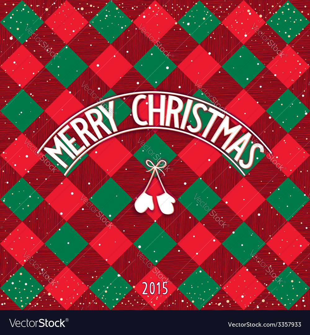 Christmas checkered greeting card vector | Price: 1 Credit (USD $1)