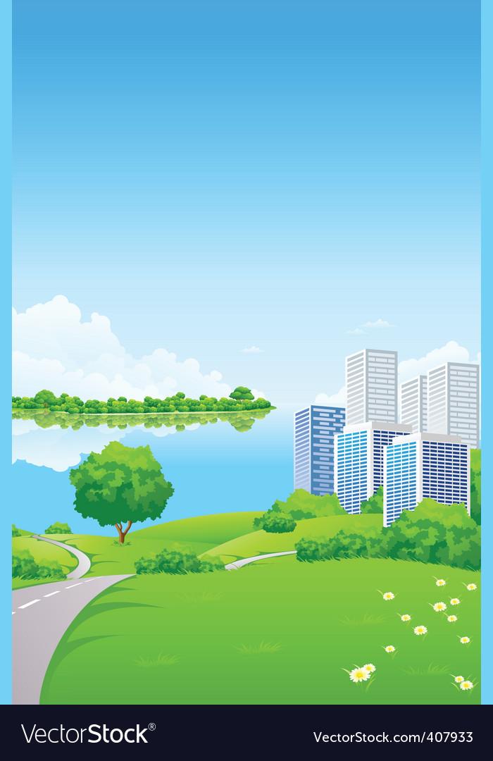 Green landscape vector | Price: 3 Credit (USD $3)