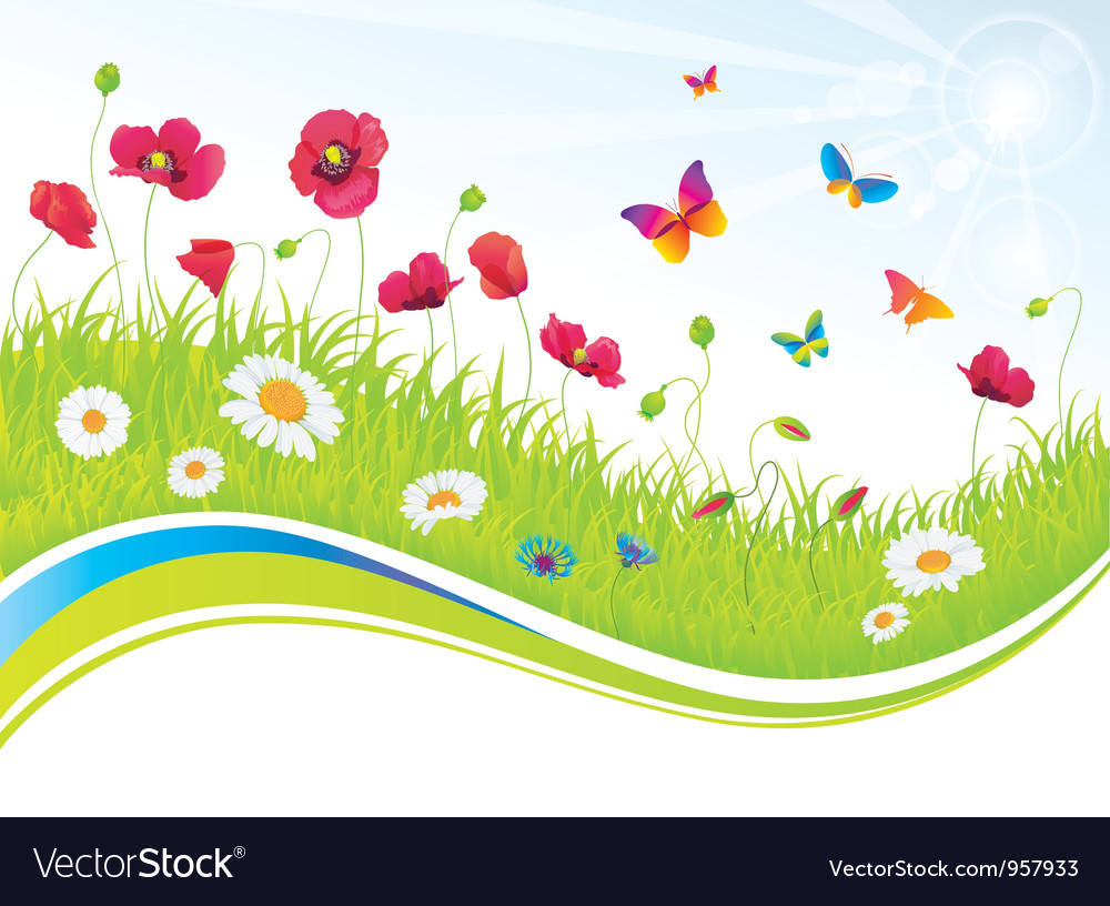 The green meadow with flowers and butterflies vector | Price: 1 Credit (USD $1)